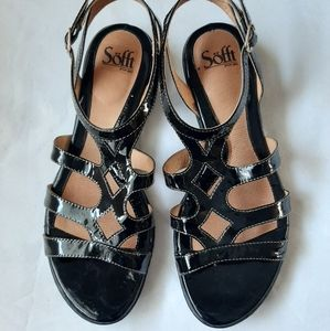Söfft black patent leather sandals